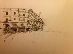 Drawing by Liad Baniel. Graphite on paper.  Aleppo, Syria, earlier this year. Based on ViceNews report video still.
