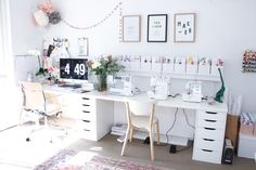 A tour of Megan Nielsen's workroom // A stylish home office with multiple workspaces included sewing spaceA tour of Megan Nielsen's workroom // A stylish home office with multiple workspaces included sewing space Sewing Nook, Sewing Room Design, Craft Room Design, Sewing Spaces, Craft Room Storage, Room Organization, Small Attic Room, Hack Ikea, Desk Inspiration