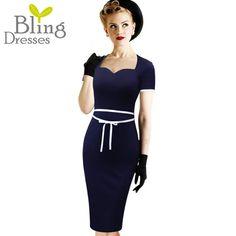 Plus Size S-4XL Summer Women Dress 2016 Vintage Sexy Bowknot Short Sleeve Sheath Work Dress Dark Blue Color Square Collar Dress