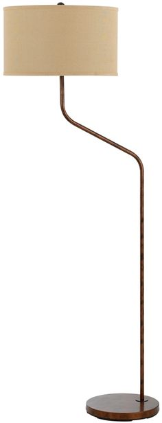 "Antique Rust Offset Arm Floor Lamp Textured Linen Hardback Drum Lampshade 60""H"