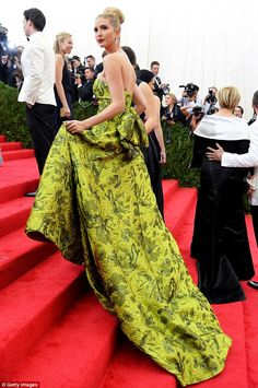 Going green: In 2014, Ivanka wore a green number by Oscar de la Renta