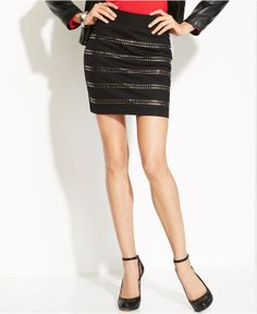 INC International Concepts Studded Striped Mini Skirt | $79.50