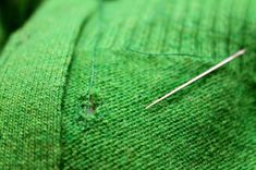 Here's how to mend holes in knits. I had no id