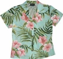 Pink Hibiscus - Ladies Fitted Aloha Shirt - Aqua