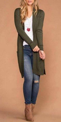 Ideas How To Wear Sweaters Winter Long Cardigan - Strickjacken/ Cardigan - Fall Outfit Fall Fashion Outfits, Fall Fashion Trends, Mode Outfits, Look Fashion, Spring Outfits, Autumn Fashion, Casual Outfits, Long Sweater Outfits, Feminine Fashion