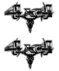 Gray Camo Skull 4x4 Sticker set - Aftershock Decals