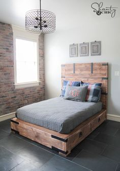 DIY Full or Queen Size Storage Bed Free Plans and Tutorial.