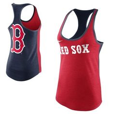 Nike Boston Red Sox Women's Tri-Blend Loose Fit Racerback Tank - Navy Blue/Red