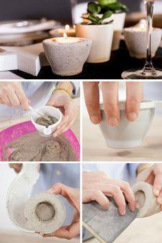 Portavelas de cemento ➜ ¿Quién dijo que el cemento solo sirve para construir? No, no, no. Con un poco de creatividad, sirve para mucho más. #Portavelas #Cemento #Velas #Candles #DIY #Manualidades #Handmade #Decoración