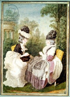 Madame Froment et Madame Rousseau (pencil, red chalk, watercolour and gouache on paper) 1780, Louis Carrogis Carmontelle, Musee Conde, Chantilly, France