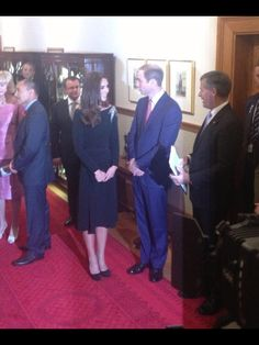 William and Kate at State Reception  in NZ. Kate wearing Jenny Packham with hand stitched fern detailing on shoulder. 4/11/14