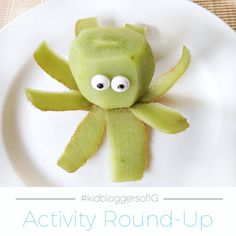 Super easy and adorably fun Octopus kiwi fruit idea. This time of year it's easy to find candy eyes in the stores, but you can usually find them in the baking section of larger stores. It's very simple to make this fun little guy: Slice off the top of a kiwi fruit. Then, use the knife to slice long peels going down the length of the fruit