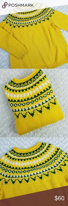 """Vintage Handmade Nordic Fair Isle Sweater Yellow, Green and White. Good vintage condition.  Great Christmas Sweater Gift for Green Bay Packers or North Dakota State Bison Fans!  No tags of any kind Approximate measurements flat  Bust 24"""" Length 29""""  Men's  MEDIUM OR Women's  LARGE Sweaters Crew & Scoop Necks"""