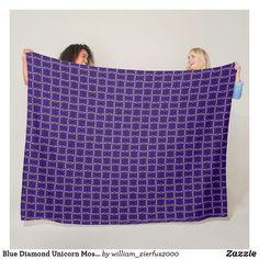 Blue Diamond Unicorn Mosaic Pattern Fleece Blanket