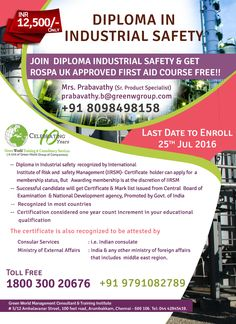 GWG is offering national diploma in industrial safety at economical cost. http://greenwgroup.co.in/trai…/diploma-in-industrial-safety/ #diplomainindustrialsafety