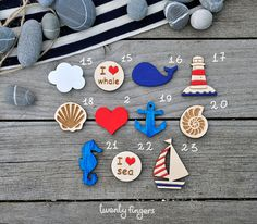 Lovely wooden brooch with sea motifs, set of 3 pieces - laser cut wood. $10.00, via Etsy.