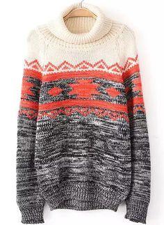 Grey High Neck Long Sleeve Loose Sweater - Sheinside.com