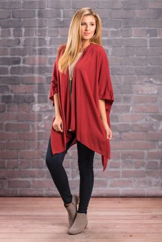 """""""Solid Flowing Fall Kimono - Red"""" Throw this flowing kimono on over and outfit that just needs a little more detail and go! The color is a gorgeous shade of red and the fabric is so soft and smooth!  #newarrivals #shopthemint"""