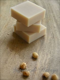 natural beige pink, unrefined macadamia nut oil soap