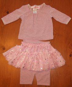 Baby Lulu Boutique Size 6m Pink Gray Striped Sparkle Glitter Tulle Tutu 2pc Set #BabyLulu #Everyday