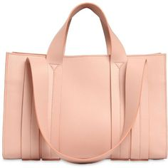 Corto Moltedo Women Medium Costanza Leather Tote ($1,695) ❤ liked on Polyvore featuring bags, handbags, tote bags, light pink, handbag tote, genuine leather handbags, leather tote purse, red leather tote and red leather purse
