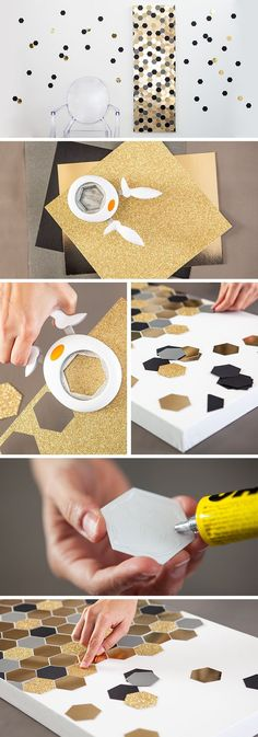 Hexagon Art // This is a really simple project! Hexagon canvas could be the perfect way to decorate for a New Year's party.