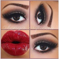 Red Valentines Lips! Smokey Eyes ❤ liked on Polyvore featuring beauty products, makeup, eye makeup, eyes, beauty, lips, red makeup, red gel eyeliner, lip cosmetics and red eye makeup
