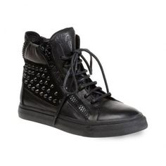1f722241c5d441 Giuseppe Zanotti Design High Top Leather Studded Sneakers Black Studded  Sneakers