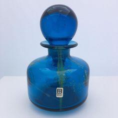Large Vintage Mdina Glass Bottle with Stopper Signed, Label, Sand & Sea Colours