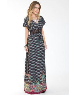 Vestido Longo Étnico com Renda Preto Mercatto - Posthaus Floral Dress Outfits, Boho Outfits, Lovely Dresses, Beautiful Outfits, Easter Dresses For Women, Shorts Longs, Modelos Fashion, Printed Gowns, Maxi Gowns