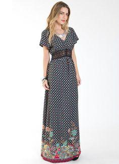 Vestido Longo Étnico com Renda Preto Mercatto - Posthaus