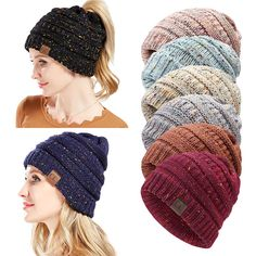 Women Winter Ponytail Beanie Hat Knitted - Banggood Mobile Ponytail Beanie 466f71d8df2