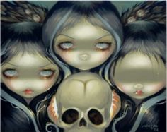 Senseless Prophecy - Witch - Three Weird Sisters - skull lowbrow gothic art print by Jasmine Becket-Griffith Jasmine Becket Griffith, Weird Sisters, Three Sisters, Gothic Fairy, Princess Art, Witch Art, Lowbrow Art, Pop Surrealism, Fairy Art