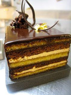 Make classic Opera Cake Profiteroles, Eclairs, Frosting, Icing, Opera Cake, Elegant Cakes, Pavlova, Cheesecake Recipes, Tiramisu