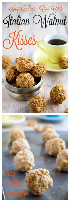 Sugar free, low carb and gluten free cookie heaven: These Italian Walnut Kisses are a super healthy take on the Italian classic Dolci di Noci.