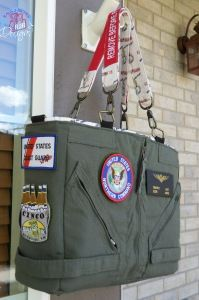 A bag made from a flight suit! I want one!  LOVE, LOVE, LOVE!