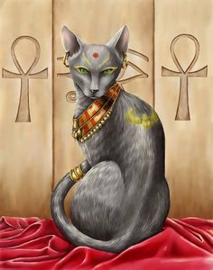Bastet The Egyptian Cat Goddess - Egyptian Art - Ancient Egypt - Handmade Oil Painting On Canvas - Ägypten - Katzen / Cat Bastet Goddess, Egyptian Cat Goddess, Egyptian Cats, Egyptian Symbols, Goddess Art, Egyptian Anubis, Goddess Tattoo, Egyptian Mythology, Bastet Tattoo