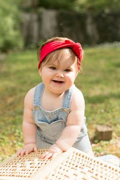 Patriotic style for babies | Red Knotted Headwrap via www.missgigglebuns.com | headbands and more.