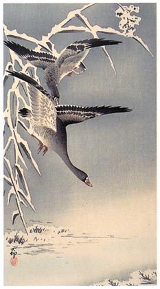 Hanga gallery / torii gallery: Geese Flying in Snow by Ohara Koson