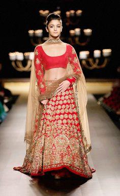 Bollywood Actress Alia Bhatt In Red Designer Lehenga At India Couture Week