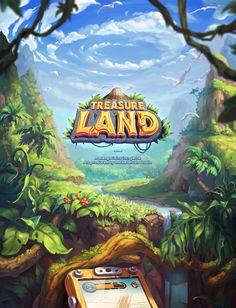 Treasureland * game art on behance game in 2019 game art, game design Game Concept, Concept Art, Level Design, Video Vintage, Play Casino Games, 2d Game Art, Game Logo Design, Game Interface, Splash Screen