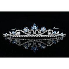 Princess Rhinestones Crystal Flower Bridal Wedding Prom Tiara Crown... ($31) ❤ liked on Polyvore featuring jewelry, rings, wedding flower crown, bridal wedding rings, flower crown, bridal rings and crown ring