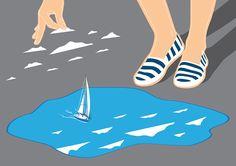 Build your own reality. illustration, puddle, boat, sail, clouds, landscape, shoes, girl, conceptual, surrealistic, editorial, salzmanart.com, salzman international, federico gastaldi