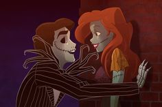 Ariel & eric as jack & sally. The Nightmare Before Christmas El Extraño Mundo de Jack Disney Disney Halloween Punk Disney, Disney Fan Art, Disney Love, Disney Magic, Disney Couples, Disney Stuff, Disney Dream, Disney Girls, Disney And Dreamworks