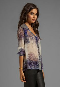 GYPSY 05 Annunaki Long Sleeve Button Down Shirt in Violet - Gypsy 05