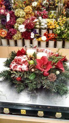 Kayla@Michaels Lisbon CT  Christmas candle arrangement