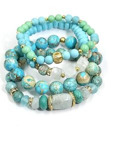 Turquoise Bracelet Set of 4 with Gold Pave CZ Stacking Bracelets by Doolittle Jewelry Gold Bangle Bracelet, Gemstone Bracelets, Silver Bracelets, Bracelet Set, Bracelet Making, Gemstone Jewelry, Beaded Jewelry, Jewelry Bracelets, Jewelry Making
