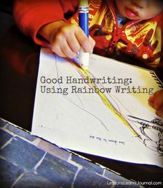 "Foster good handwriting with rainbow writing. Rainbow writing develops kinaesthetic awareness and memory, skills needed for good handwriting. ""The problem with dot-to-dot tracing is that it does not encourage the learner to see the writing of each letter as one complete movement. This limits kinesthetic awareness and memory over time. """
