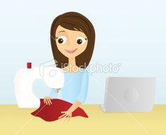 Woman Sewing Royalty Free Stock Vector Art Illustration