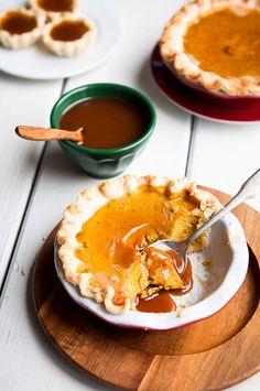 pumpkin pie with caramel brandy hard sauce